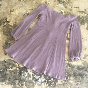 Lulu's Off The Shoulder Long Sleeve Lavender dress